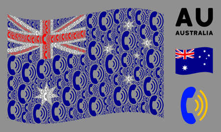 Waving Australia state flag. Vector phone ring items are united into mosaic Australia flag illustration. Patriotic illustration constructed of flat phone ring icons.