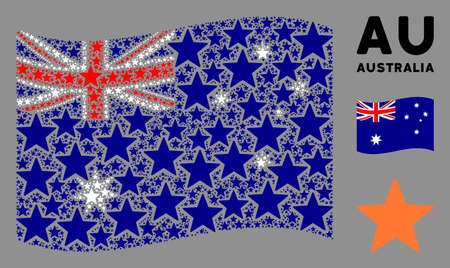 Waving Australia flag. Vector fireworks star design elements are arranged into conceptual Australia flag abstraction. Patriotic illustration designed of flat fireworks star design elements. Ilustração