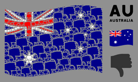 Waving Australia state flag. Vector thumb down design elements are organized into conceptual Australia flag composition. Patriotic illustration composed of flat thumb down design elements.