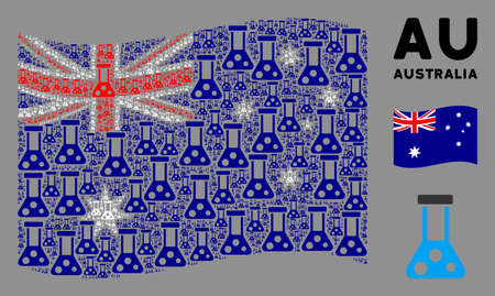 Waving Australia state flag. Vector chemistry design elements are grouped into geometric Australia flag abstraction. Patriotic concept designed of flat chemistry design elements.
