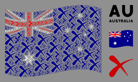 Waving Australia flag. Vector erase elements are organized into geometric Australia flag collage. Patriotic collage organized of flat erase design elements. Ilustração
