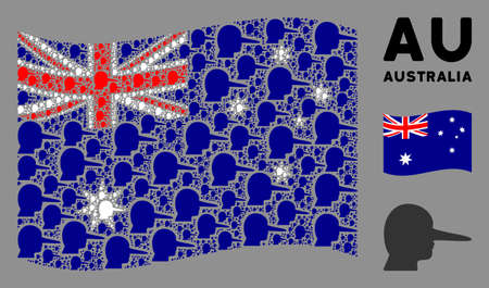Waving Australia state flag. Vector lier design elements are organized into geometric Australia flag composition. Patriotic composition designed of flat lier elements.