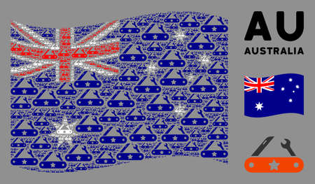 Waving Australia official flag. Vector universal multitool knife design elements are scattered into geometric Australia flag abstraction. Illustration