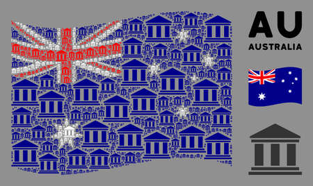 Waving Australia state flag. Vector library building pictograms are organized into mosaic Australia flag illustration. Patriotic composition organized of flat library building pictograms. Illustration