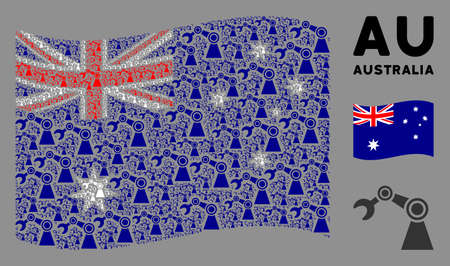 Waving Australia official flag. Vector industrial robot design elements are formed into geometric Australia flag composition. Patriotic collage composed of flat industrial robot design elements.