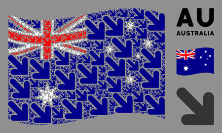 Waving Australia state flag. Vector arrow down right design elements are scattered into conceptual Australia flag composition. Patriotic composition combined of flat arrow down right elements. Ilustração