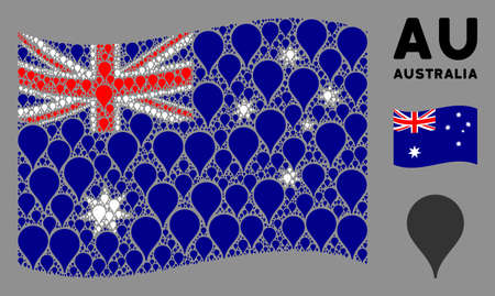Waving Australia official flag. Vector map pointer design elements are organized into geometric Australia flag composition. Patriotic composition constructed of flat map pointer elements.