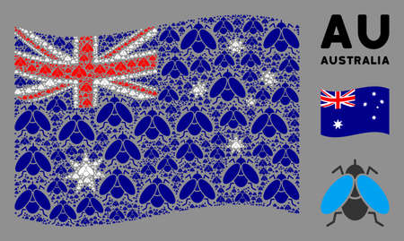 Waving Australia state flag. Vector fly insect elements are arranged into mosaic Australia flag composition. Patriotic composition combined of flat fly insect design elements. 일러스트