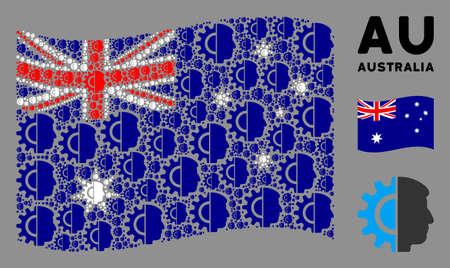 Waving Australia state flag. Vector android robotics design elements are arranged into mosaic Australia flag illustration. Patriotic composition constructed of flat android robotics design elements. Ilustração