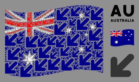 Waving Australia flag. Vector arrow down left design elements are grouped into conceptual Australia flag illustration. Patriotic collage constructed of flat arrow down left design elements. Banco de Imagens - 132176632