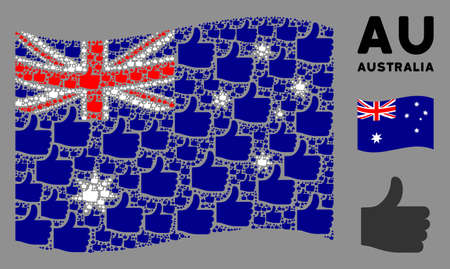 Waving Australia official flag. Vector thumb up design elements are arranged into conceptual Australia flag composition. Patriotic collage constructed of flat thumb up design elements.