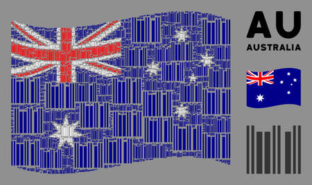 Waving Australia state flag. Vector barcode design elements are scattered into mosaic Australia flag collage. Patriotic collage done of flat barcode elements.
