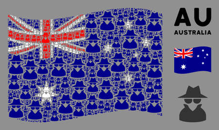 Waving Australia state flag. Vector spy design elements are arranged into conceptual Australia flag collage. Patriotic composition combined of flat spy design elements.