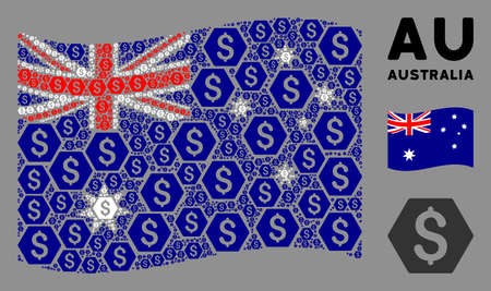 Waving Australia official flag. Vector finance design elements are placed into geometric Australia flag illustration. Patriotic illustration combined of flat finance design elements.