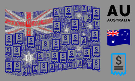 Waving Australia official flag. Vector dollar cheque design elements are organized into mosaic Australia flag illustration. Patriotic illustration done of flat dollar cheque elements. 向量圖像