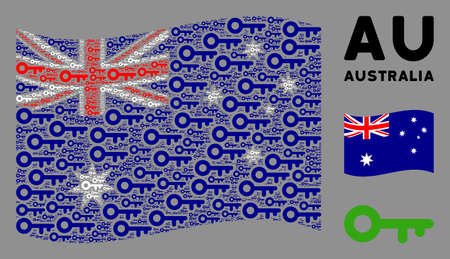 Waving Australia official flag. Vector key design elements are grouped into conceptual Australia flag composition. Patriotic composition composed of flat key design elements.