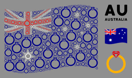 Waving Australia flag. Vector ruby ring items are combined into geometric Australia flag illustration. Patriotic illustration done of flat ruby ring pictograms.