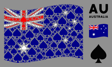 Waving Australia flag. Vector peaks suit pictograms are scattered into geometric Australia flag abstraction. Patriotic collage composed of flat peaks suit pictograms.
