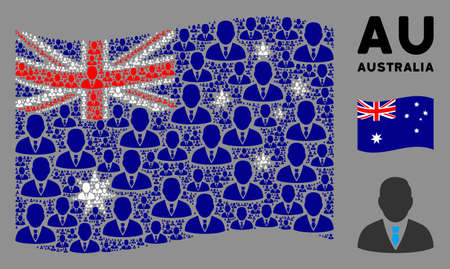 Waving Australia official flag. Vector manager icons are combined into geometric Australia flag illustration. Patriotic concept organized of flat manager icons. Illustration
