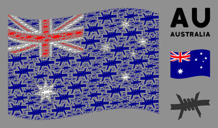 Waving Australia state flag. Vector barbed wire design elements are arranged into geometric Australia flag collage. Patriotic concept done of flat barbed wire design elements. Çizim