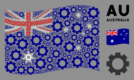 Waving Australia official flag. Vector gear icons are grouped into conceptual Australia flag composition. Patriotic collage created of flat gear icons.