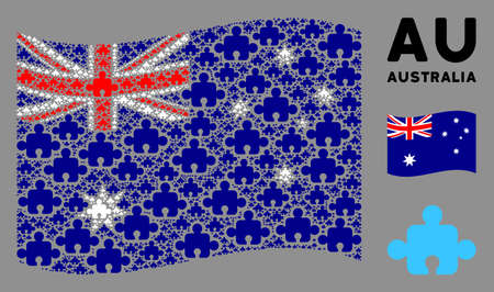 Waving Australia flag. Vector component icons are combined into geometric Australia flag composition. Patriotic composition organized of flat component pictograms.