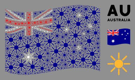 Waving Australia state flag. Vector sun elements are united into conceptual Australia flag composition. Patriotic composition organized of flat sun pictograms.