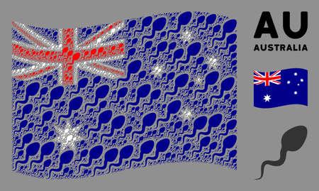 Waving Australia flag. Vector spermatozoon pictograms are placed into mosaic Australia flag illustration. Patriotic illustration composed of flat spermatozoon pictograms.  イラスト・ベクター素材