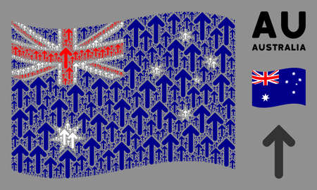 Waving Australia official flag. Vector arrow direction pictograms are formed into mosaic Australia flag illustration. Patriotic illustration combined of flat arrow direction pictograms. Banco de Imagens - 132190389