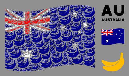 Waving Australia flag. Vector banana pictograms are arranged into conceptual Australia flag illustration. Patriotic concept designed of flat banana pictograms.