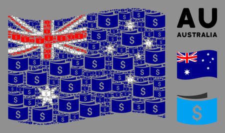 Waving Australia official flag. Vector banknotes icons are organized into geometric Australia flag collage. Patriotic collage organized of flat banknotes elements.
