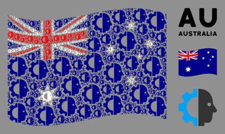 Waving Australia official flag. Vector cyborg head design elements are grouped into mosaic Australia flag composition. Patriotic concept constructed of flat cyborg head design elements. Ilustração