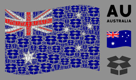 Waving Australia state flag. open box elements are formed into geometric Australia flag composition. Patriotic concept created of flat open box elements. Ilustrace