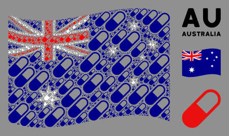 Waving Australia state flag. medication granule design elements are united into geometric Australia flag composition. Patriotic concept constructed of flat medication granule design elements.
