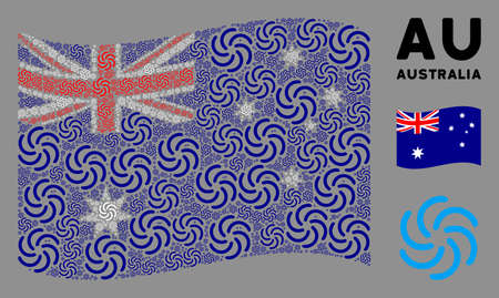 Waving Australia state flag. galaxy pictographs are grouped into geometric Australia flag illustration. Patriotic collage created of flat galaxy pictograms.