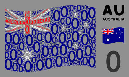 Waving Australia official flag. Vector zero digit icons are placed into mosaic Australia flag composition. Patriotic composition created of flat zero digit icons.
