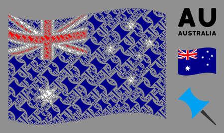 Waving Australia flag. Vector pin design elements are combined into geometric Australia flag illustration. Patriotic collage composed of flat pin design elements. Çizim
