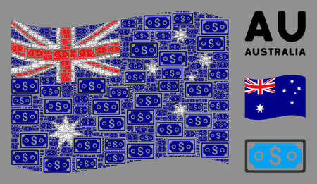 Waving Australia official flag. Vector dollar banknote design elements are formed into mosaic Australia flag abstraction. Patriotic illustration composed of flat dollar banknote design elements. 向量圖像