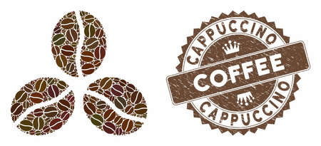 Mosaic coffee beans and grunge stamp watermark with Cappuccino Coffee caption. Mosaic vector coffee beans is created with beans. Cappuccino Coffee stamp uses brown color.