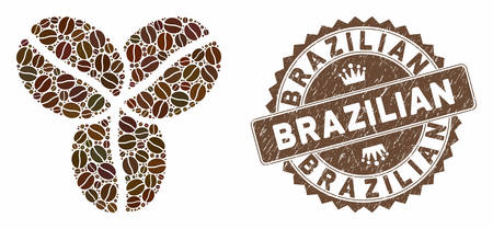Mosaic coffee beans and distressed stamp seal with Brazilian text. Mosaic vector coffee beans is composed with seeds. Brazilian stamp uses brown color.  イラスト・ベクター素材