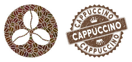 Mosaic coffee beans and corroded stamp seal with Cappuccino phrase. Mosaic vector coffee beans is formed with grain. Cappuccino stamp uses brown color.