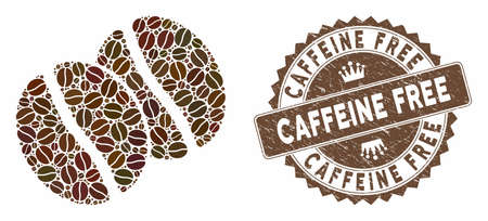 Mosaic coffee beans and rubber stamp seal with Caffeine Free text. Mosaic vector coffee beans is designed with grain. Caffeine Free seal uses chocolate color. Illusztráció