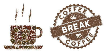 Mosaic coffee break and distressed stamp seal with Coffee Break phrase. Mosaic vector coffee break is created with grain. Coffee Break stamp uses brown color.