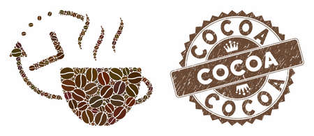 Mosaic coffee break and corroded stamp seal with Cocoa text. Mosaic vector coffee break is created with seeds. Cocoa seal uses brown color.