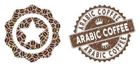 Mosaic best quality and corroded stamp seal with Arabic Coffee phrase. Mosaic vector best quality is composed with grain. Arabic Coffee stamp uses brown color.