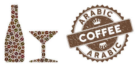 Mosaic beverage and grunge stamp watermark with Arabic Coffee caption. Mosaic vector beverage is designed with grain. Arabic Coffee stamp uses chocolate color.  イラスト・ベクター素材