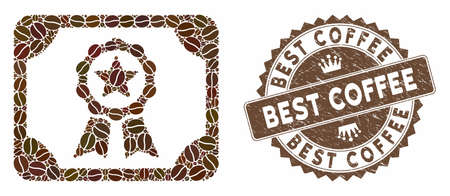 Mosaic certificate and grunge stamp seal with Best Coffee phrase. Mosaic vector certificate is composed with grain. Best Coffee stamp uses chocolate color.