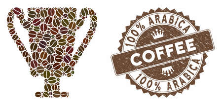 Mosaic award cup and rubber stamp seal with 100% Arabica Coffee phrase. Mosaic vector award cup is composed with seeds. 100% Arabica Coffee seal uses brown color.
