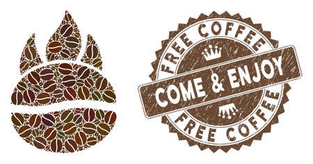 Mosaic fired coffee bean and rubber stamp watermark with Free Coffee Come & Enjoy text. Mosaic vector fired coffee bean is created with beans. Free Coffee Come & Enjoy stamp uses chocolate color.
