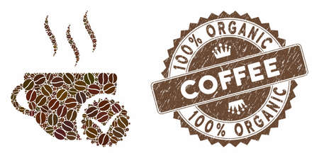 Mosaic best coffee and corroded stamp seal with 100% Organic Coffee phrase. Mosaic vector best coffee is formed with seeds. 100% Organic Coffee stamp uses brown color. Ilustração